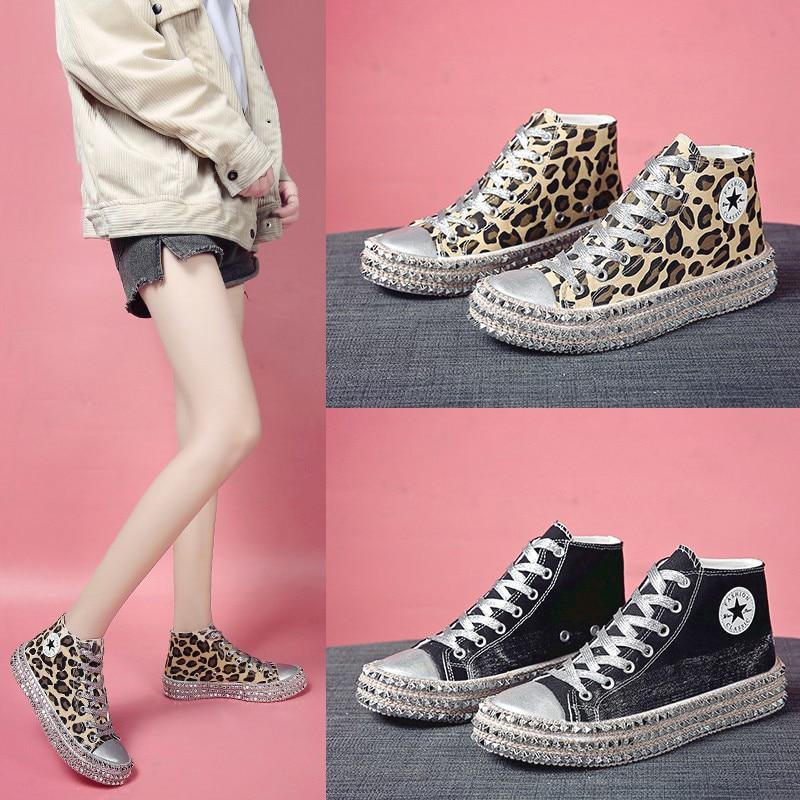 Women Canvas Shoes Fashion High-Top Leopard Sneakers Girls Shinny Rivet Designer Star Shoes Summer H