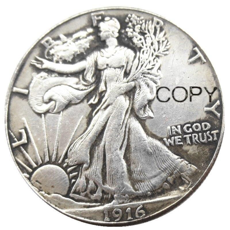 EUA 1916 PSD de Passeio Da Liberdade Meio Dólar de Prata Banhado Moedas Cópia