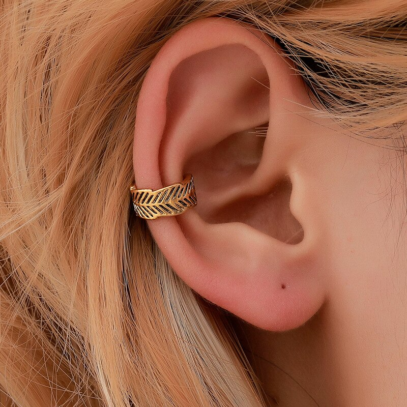 Bohemian Simple Leaf Ear Cuffs Vintage Ethnic Ear Cuff Clip Earrings For Women Climbers No Piercing Fake Cartilage Earring