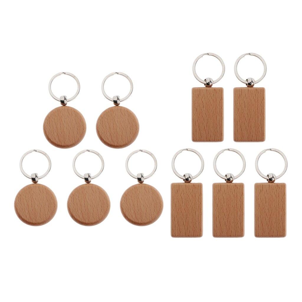 Holz Schlüssel Kette Blank 5 Pack, Holz Personalisierte Gravieren, Farbe oder Fleck Tags DIY