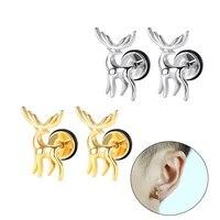 trend 2pc titanium steel earrings ear stud for women man fashion exquisite deer pattern earring ear accessories piercing jewelry