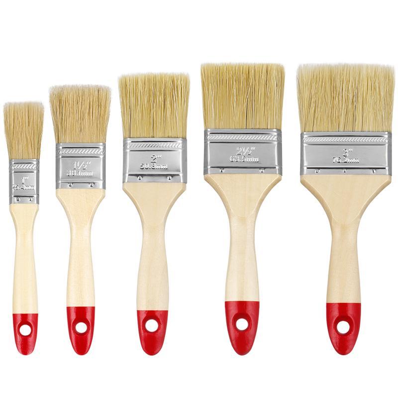 10 pinceles de pintura, pinceles de madera sólida, cepillos de pintura de pared de cerdas domésticas, pinceles de pintura con 5 tamaños para valla de papel tapiz de muebles