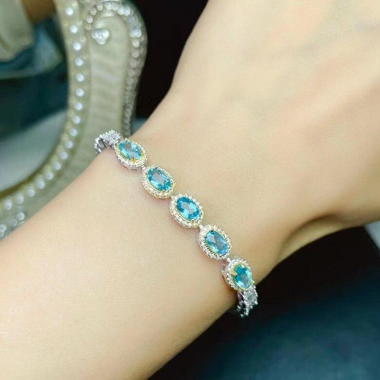 الكلاسيكية 925 الفضة سوار ل ارتداء اليومي 4 مللي متر * 6 مللي متر الطبيعية الضوء الأزرق توباز سوار فضة توباز مجوهرات هدية للزوجة