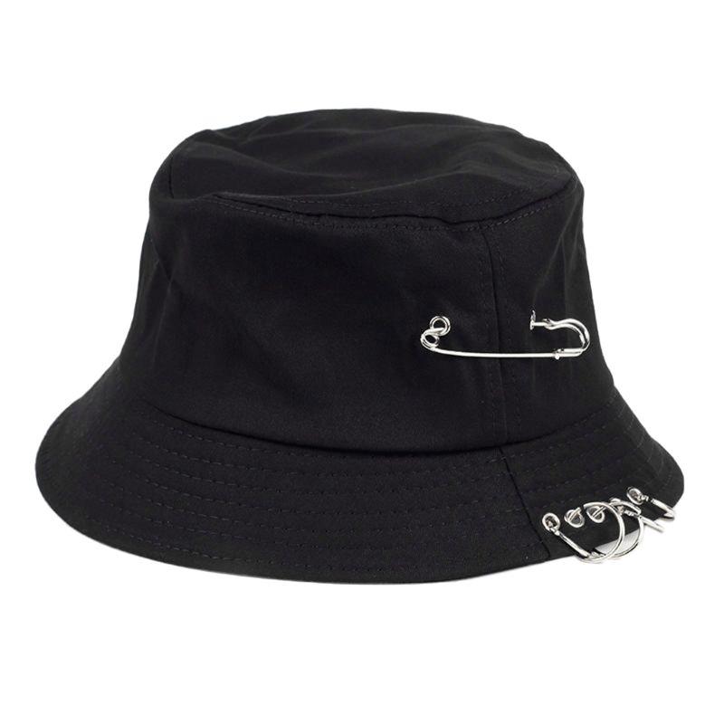 Gorra de pescador Unisex de estilo Punk de algodón con personalidad, gorra de pescador de estilo Hip Hop plegable con ala ancha y Color sólido