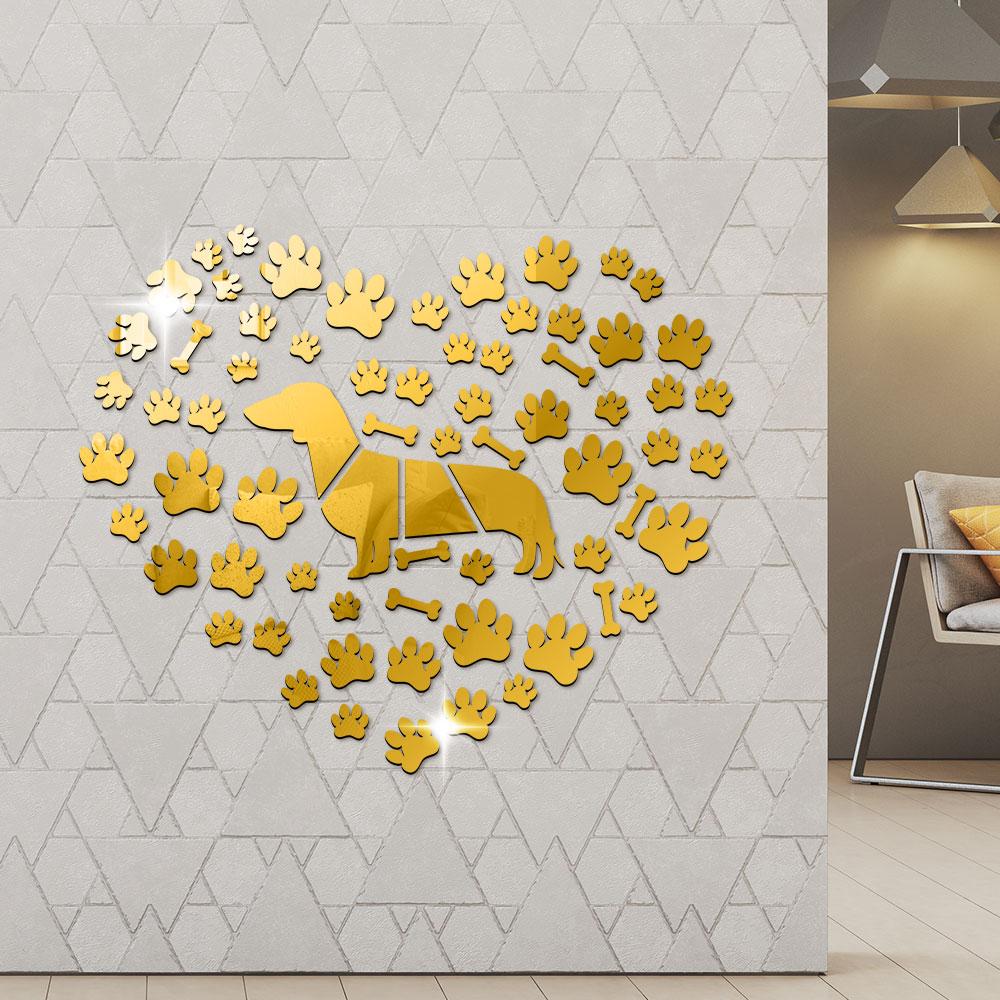 Perro salchicha envolvente por patas del perro hueso efecto espejo acrílico pegatinas de pared arte de pared gigante pegatina salchicha perro hecho a mano decoración del hogar