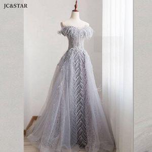 Lace feather prom dresses new sweetheart Backless ALine silver gray crystal evening gown luxury vestido graduacion largo custom