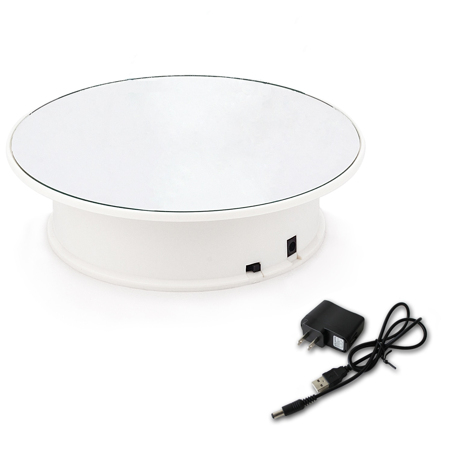 manual plastic turntable 20cm 8 inch rotating base acrylic transparent photo frame display stand three dimension accessories 20CM/8-Inches Mirror 360 Degrees Rotating Rotary Display Stand Turntable Jewelry Display Base- Include AC Plug (Double Power)