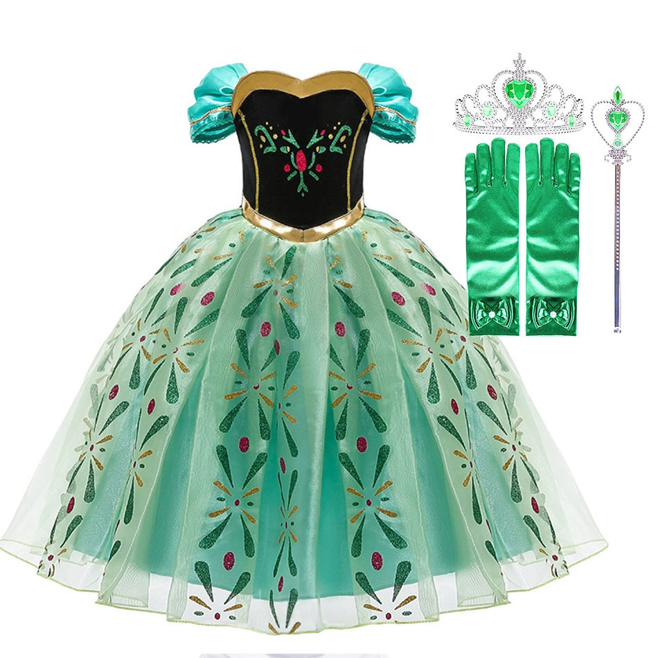 elsa gril kids fall outfits pyjama enfant anna princess birthday party roupas infantis menina halloween cosplay children clothes Little Girls Princess Dresses Snow Queen Anna Costume Children Halloween Cosplay Clothes Kids Birthday Party Carnival Disguise