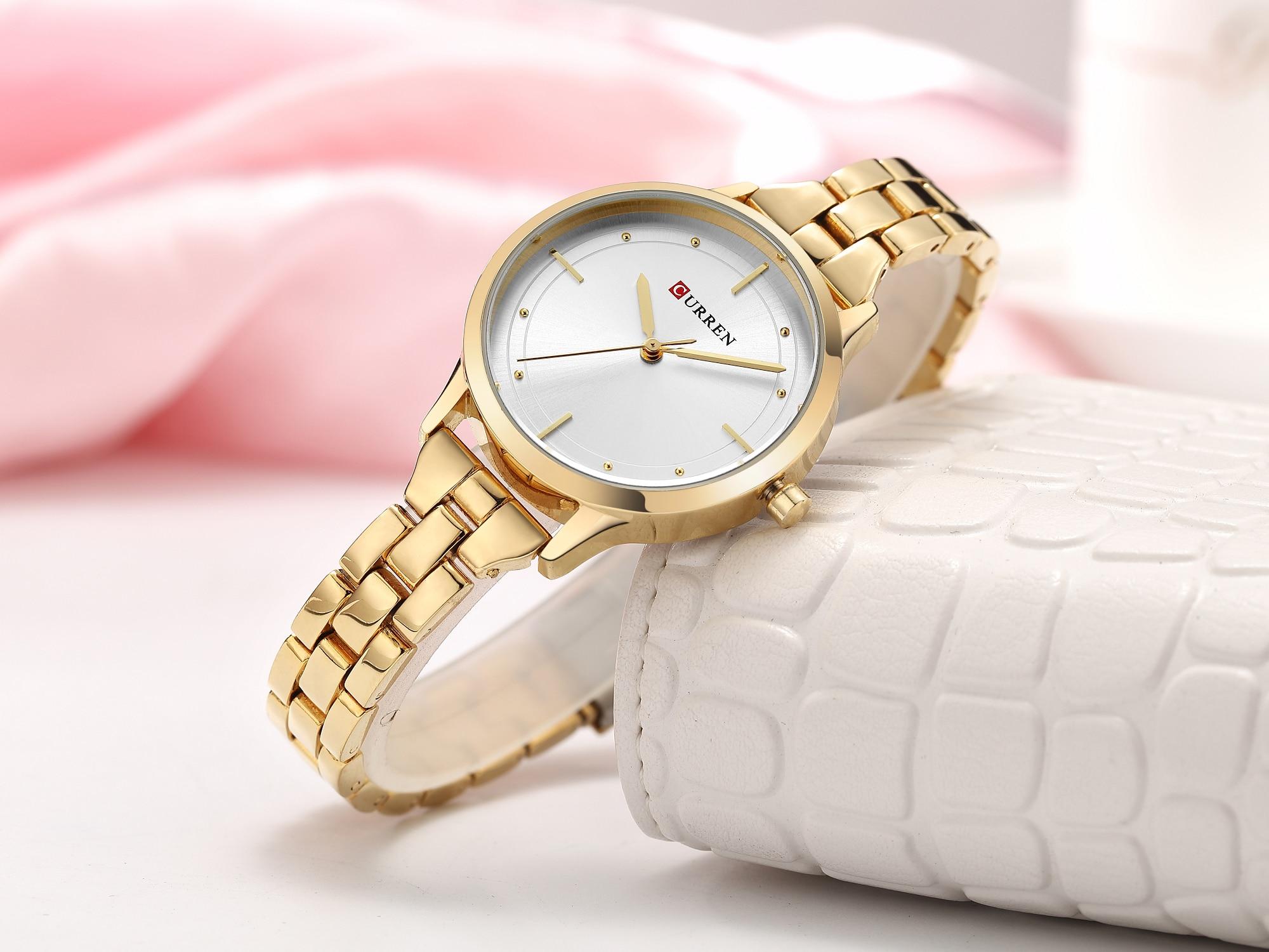 CURREN Female Watch Newest Fashion Design Women Wristwatches Gold Stainless Steel Quartz Relogio Waterproof Relojes Para Mujer enlarge