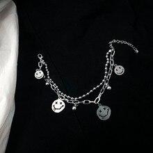 Bracelet de perles en titane et acier, Double couche, visage souriant avec la langue, Bracelet à breloques, bijoux sans Fadinhg pour femmes et hommes