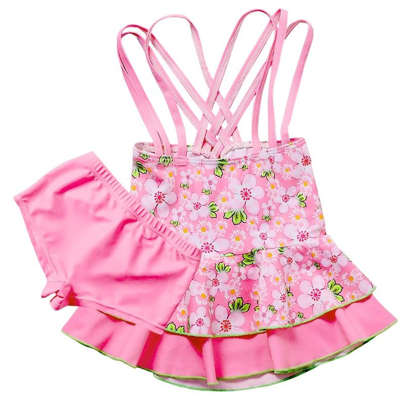 Children Swimwear One-Piece Swimsuit With Skirt Cartoon Hourse Swimming Dress One Shoulder Swimming Dress Kids Girls Swim Suit