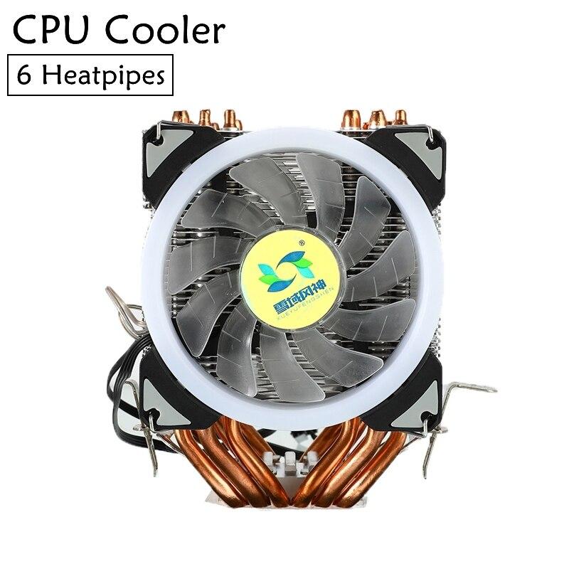 Enfriador de CPU con 6 tubos de calor, ventilador Dual RGB de 4 pines, ventilador de refrigeración silencioso, disipador de calor, radiador para Intel 775/1150/1151/1155/1366AM