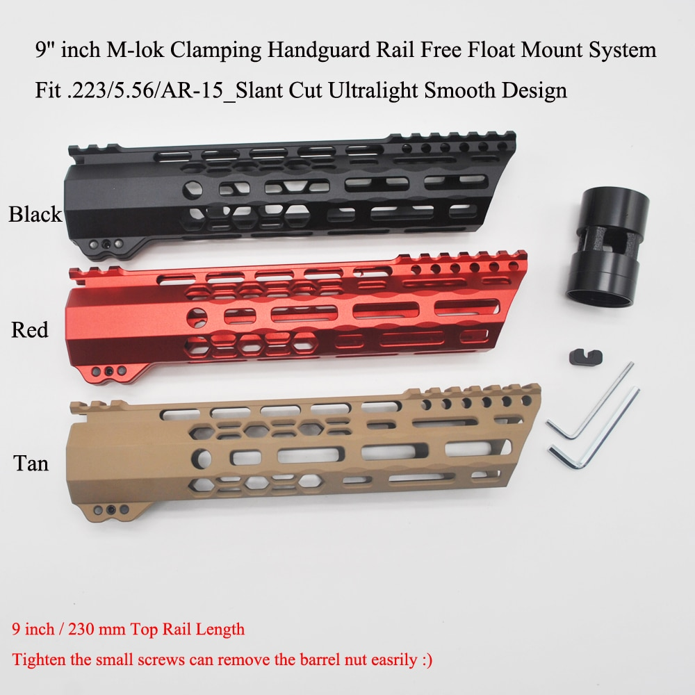 TriRock 9'' inch M-lok Clamping Handguard Rail Slant Cut  Ultralight Slim Free Float Mount System .223/5.56 AR-15_Black/Red/Tan