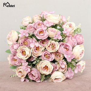 10 Heads Artificial Flowers Roses Bridesmaids Bouquet 5 Branches Silk Fake Flowers for DIY Home Garden Wedding Decoration Flores