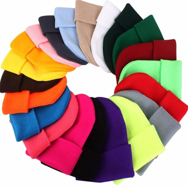Autumn Winter Solid Unisex Wool Blends Elastic Knit Hat Warm Soft Solid Color Ski Leisure Beanie