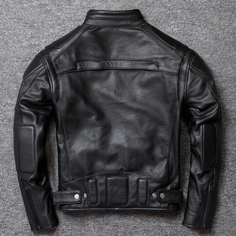 Motorcycle clothing leather jacket men's short stand-up collar top layer cowhide men's riding leather jacket large size jacket