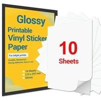 10 sheets printable vinyl sticker paper a4 glossy self adhesive inkjet printer paper for inkjet printer diy decals gift crafts