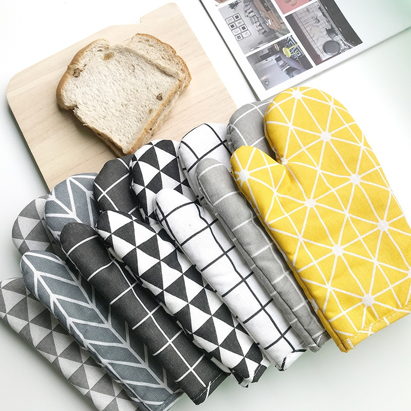 Теплоизоляционные перчатки, устойчивые к ожогу перчатки для микроволновой печи, высокотемпературные перчатки для кухни, печи в скандинавс...