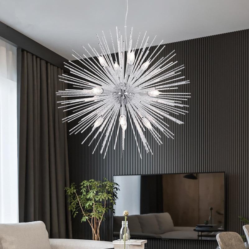Nordic Postmodern Living Room Bedroom Restaurant Lighting Personality Art Golden Dandelion Cafe Clothing Store Pendant Light