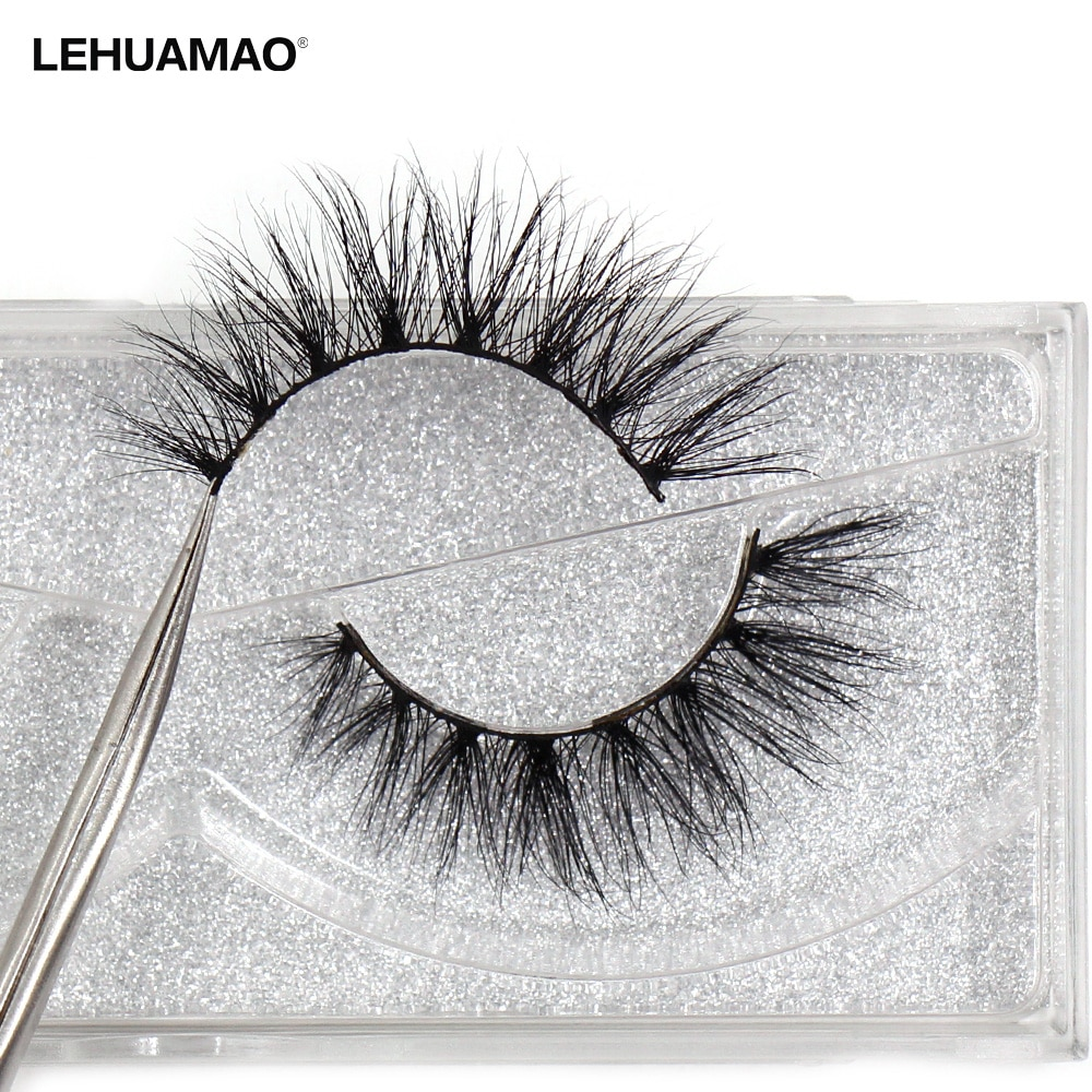 LEHUAMAO Luxury 5D Mink Hair False Eyelashes Wispy Cross natural Mink Lashes Extension Tools Makeup Handmade Mink Eyelashes A04 недорого