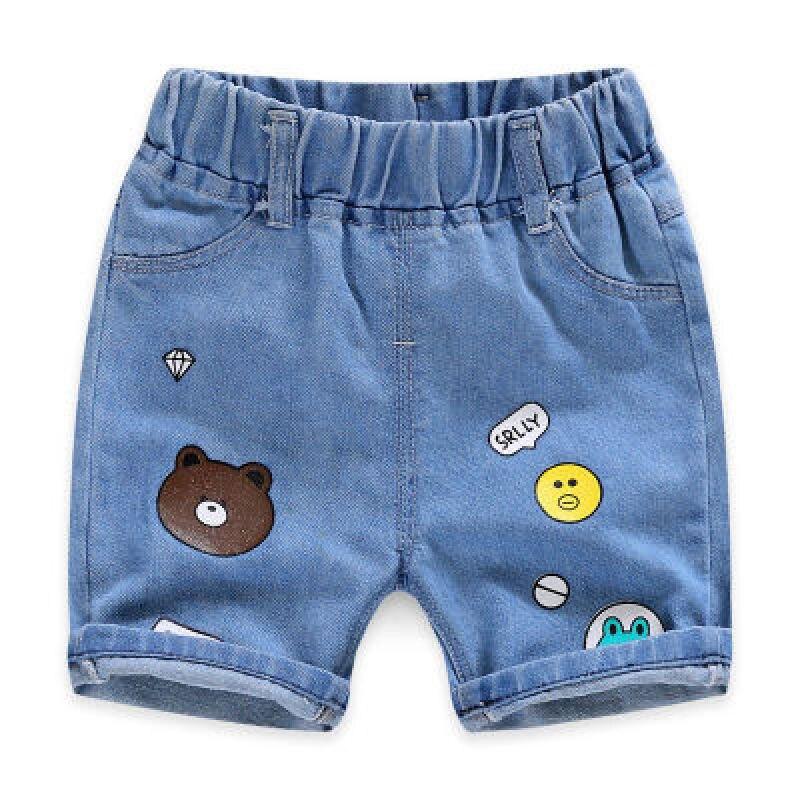 Купить с кэшбэком 2021 Children Clothing Jeans Summer Cotton Shorts Children Casual Jeans Baby Boy Clothes Boys Cartoon Toddler Denim Pants2-8Y