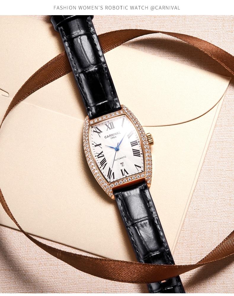 Carnival watch ladies mechanical watch automatic fashion leather trend diamond new wine barrel female watch ladiesˈlādēz Ladies enlarge