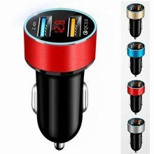 Dual USB Car Charger Adapter 3.1A Digital LED Voltage/Current Display Auto Vehicle Metal Charger For