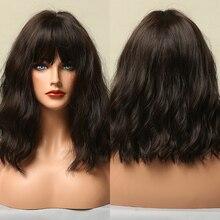 Parrucche sintetiche per capelli ricci ondulati profondi BoBo marrone scuro nero scuro con frangia completa parrucche resistenti al calore Cosplay per donne nere