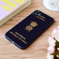 for iphone india passport print soft matt apple iphone case 6 7 8 11 12 plus pro x xr xs max se