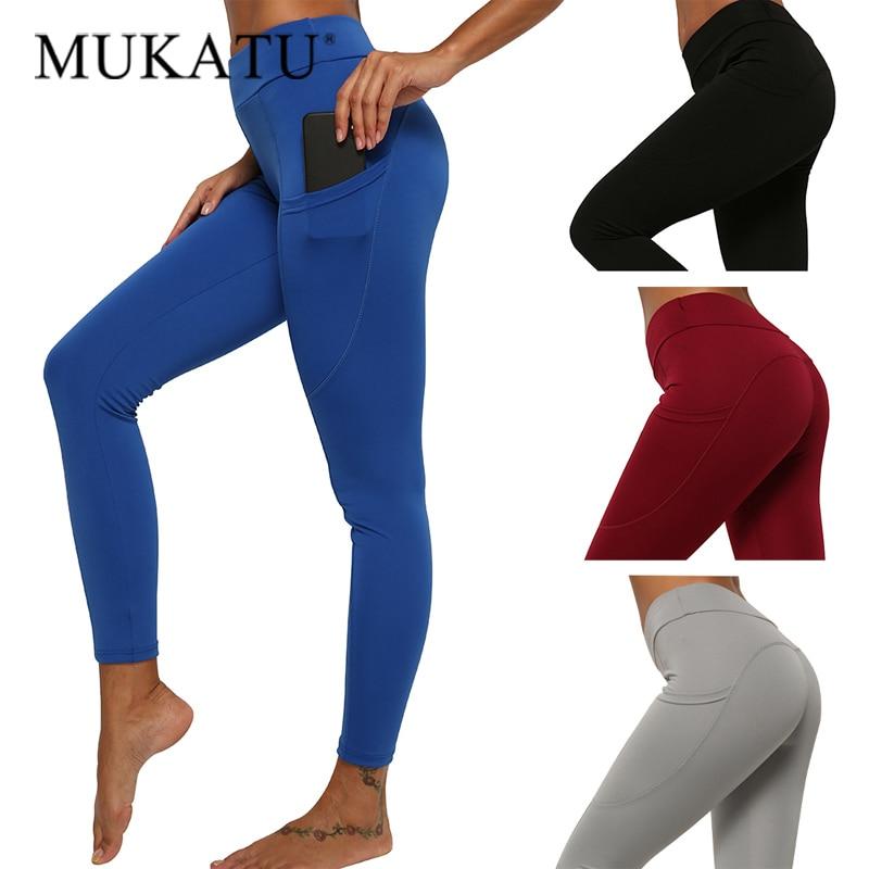 Culturismo Fitness polainas para mujeres de cintura alta de entrenamiento empujar Legging con bolsillos de cintura alta Leggins Sexy Mujer Pantalones