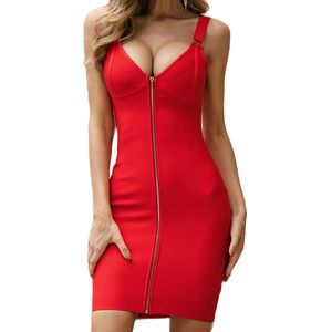 Summer Sexy Dress Red Bandage Bodycon Sleeveless Evening Party Club Ladies Dresses Fashion Women Clothes