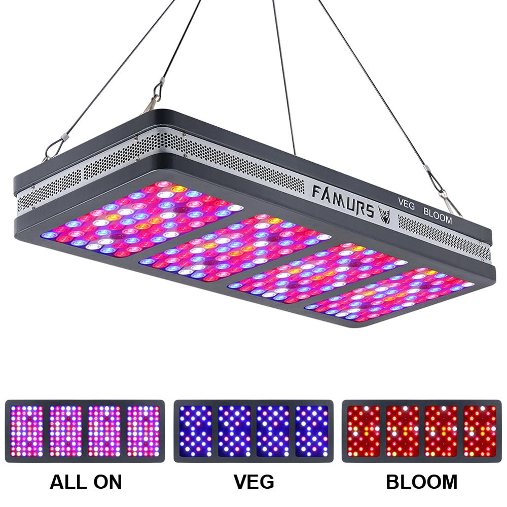 Diodo emissor de luz cresce a luz 800 w/1500 w/2000 w/3000 w refletor de espectro completo interruptor duplo vegbloom triplo chip crescente lâmpada para plantas de interior