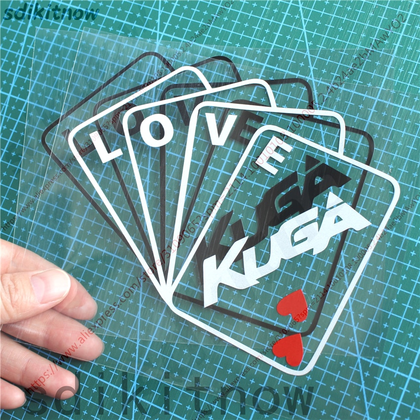 New Poker Card Love Car Sticker Door Window Decal Styling Decoration For ford kuga 2018 2017 2013 2014 2015 2008 accessories