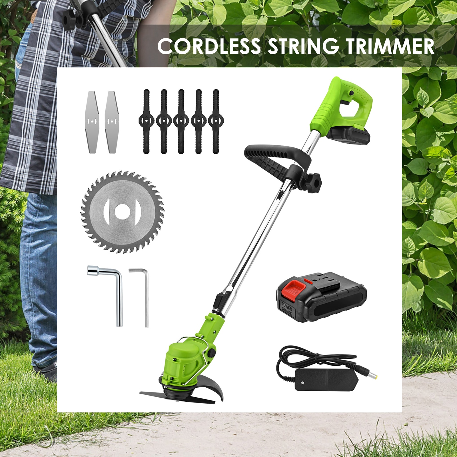 24V Cordless Lawn Trimmer 2-in-1 Lawn Trimmer And Lawn Edger Mini Brush Cutter Lawn Mower Tool With Telescopic Rod