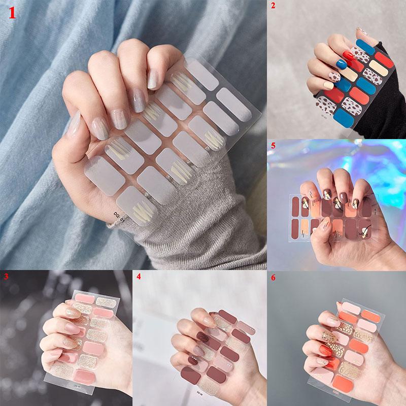 14pcs/Sheet Full Cover Glitter Nail Stickers Nail Wraps Fashion Nail Polish Sticker DIY Self-Adhesive Nail Art Decoration