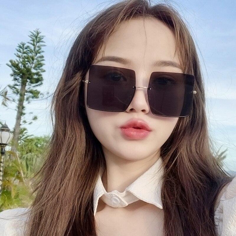 Oversized Sunglasses Semi Rimless Sun Glasses Vintage Fashion Gafas Women Luxury Designer Lunette Tr