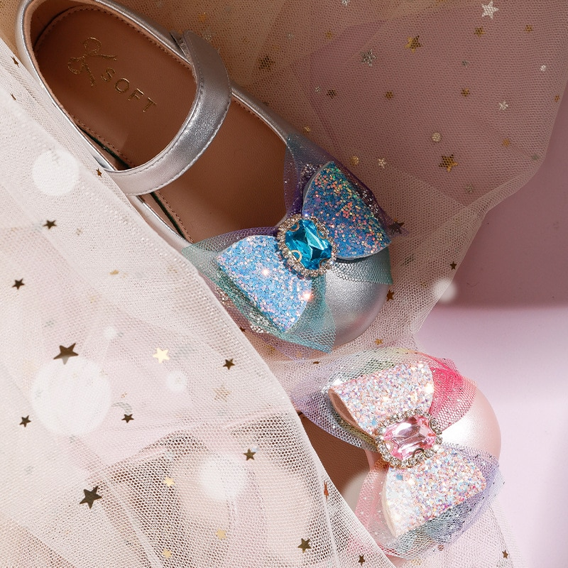 Girls' Crystal Leather Shoes Soft Bottom Comfortable Leather Shoes Children's Moccasin-Gommino Princess Shoes enlarge