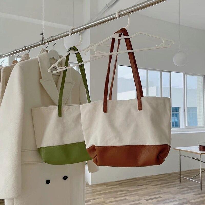 حقيبة قماش قنب المرأة الصيف حقيبة 2021 جديد التباين اللون سعة كبيرة واحدة حقيبة كتف حقيبة حقيبة تسوق