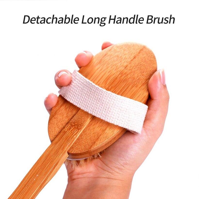 Exfoliatinbath Brush Combination Suit Wooden Massage Body Brush Detachable Long Handle Dry Brush enlarge