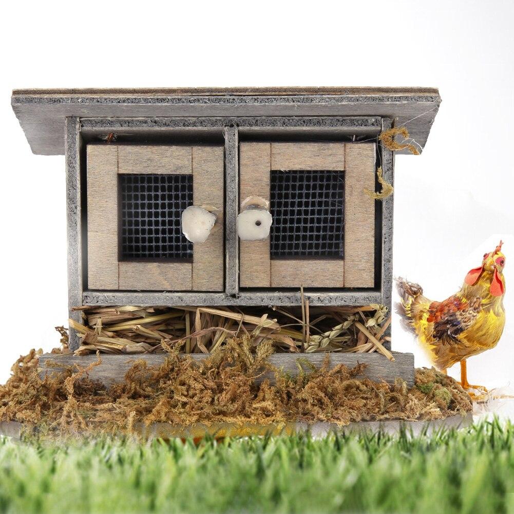 1/12 Casa de miniatura de madera simulación gallinero decoración Mini gallinero para decoración para casa de muñecas Accesorios