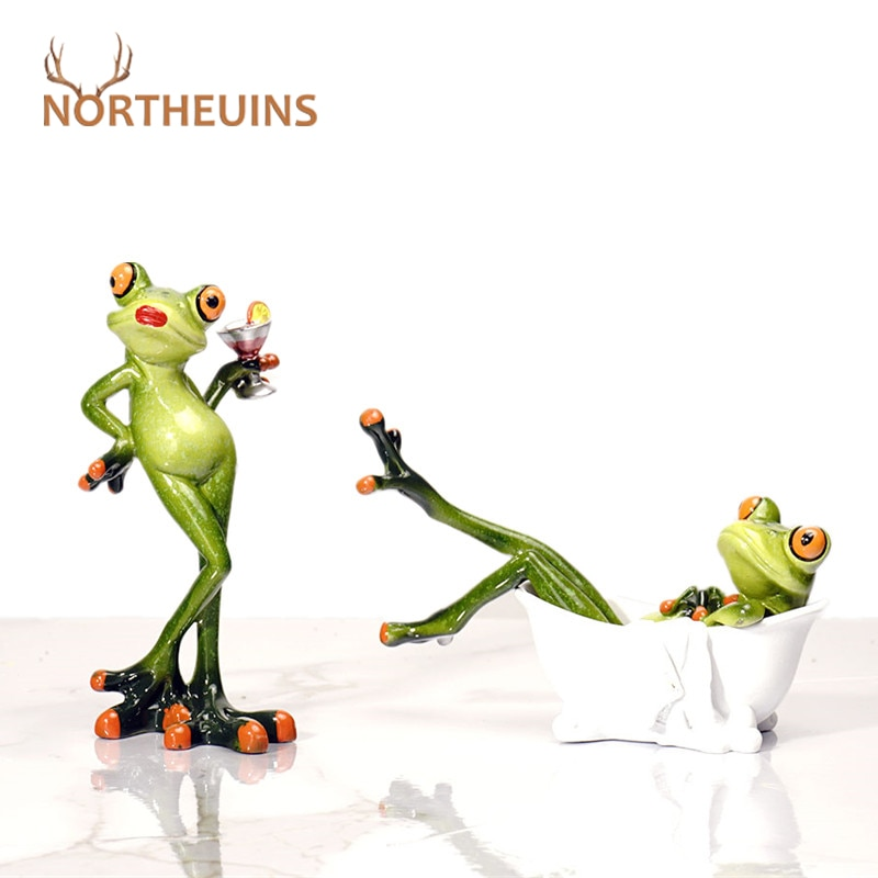 NORTHEUINS Resin Leggy Frog Miniature Figurines Animal Statue Desktop Decoration Souvenirs for Interior Modern Home Decor Loft