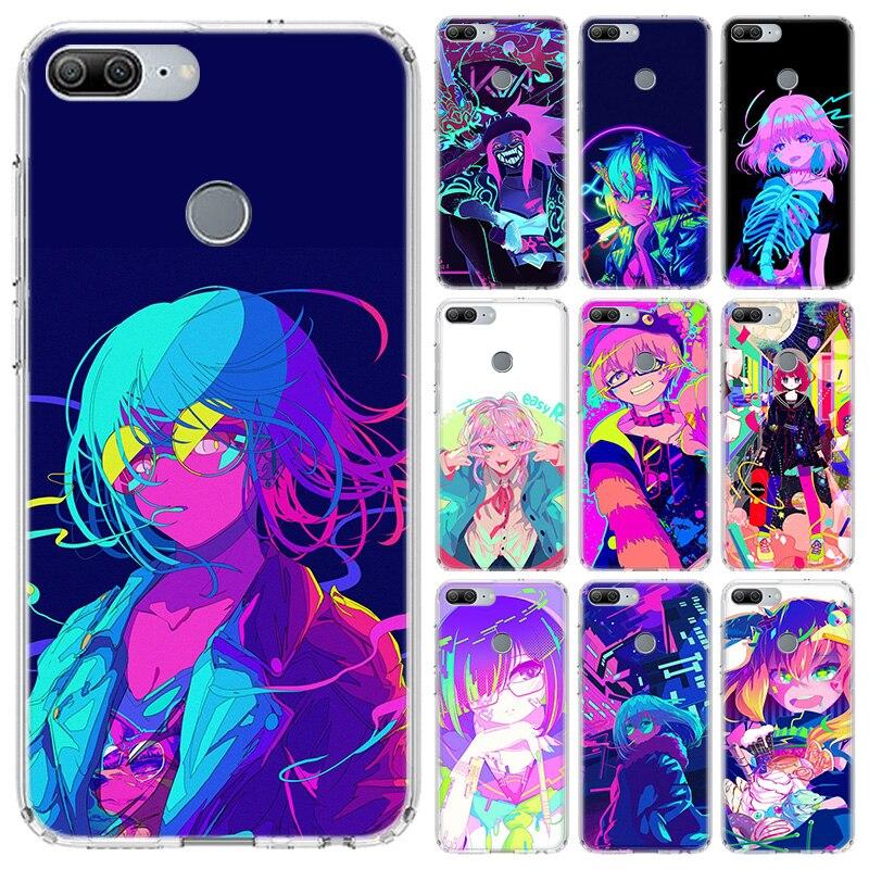 Neón Oni chica Anime funda para Huawei Honor 10 9 Lite Y5 Y6 Y7 Y9 2019 9X8X8 S 8A Pro 7A 10i 20 Nova 6E V30 teléfono Coque cubierta