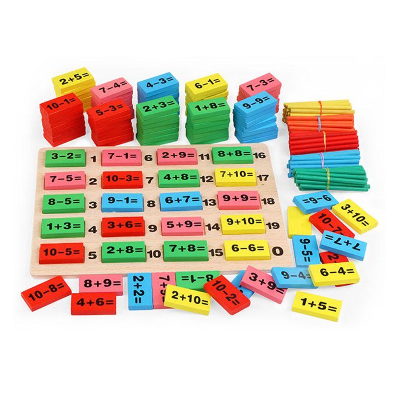 1 Juego de juguetes de matemáticas de madera para educación temprana para niños dominó 3-4-5-6-7 años de edad juego de recuentos Regalos divertidos para niños