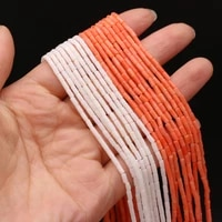 natural coral beads cylindrical shape loose spacer bead for women jewelry making handmade necklace bracelet accessories 2x4mm