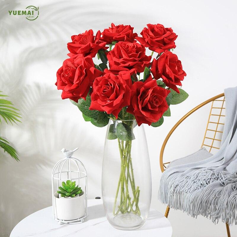 10 Uds. Flores rosas artificiales de seda y rosas de 50cm de altura para decoración de bodas decoración de lujo para el hogar regalo del Día de San Valentín