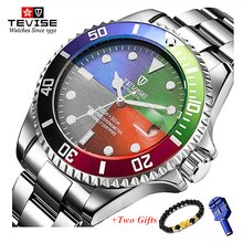 New Tevise Automatic Self Wind Watch Men Luxury Gold Mechanical Wrist Watch 316L Stainless Steel Wat