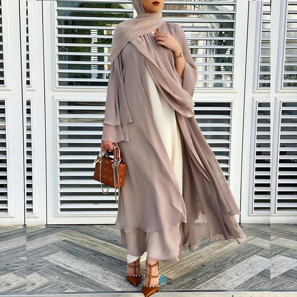 Sólido Abaya abierta Kimono Dubai Turquía Kaftan musulmán Cardigan vestido de Abaya...