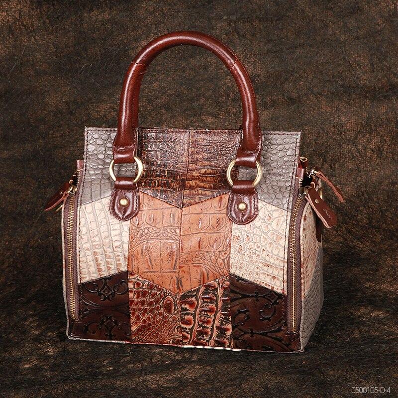 ترف المرأة خمر حقيبة يد متعددة الوظائف سعة كبيرة السيدات Crossbody حقيبة كتف جلد طبيعي الإناث مقبض علوي حقائب اليد
