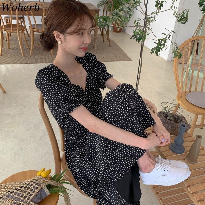Woherb, vestido de mujer, moda coreana, nueva ropa, Vintage, cuello cuadrado, con cordones, Vestidos Slim Fit, Vestidos estampados con manga farol, 92609