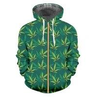 ifpd euus size green leaves 3d printed man zipper hoodies harajuku weeds hoodie casual fashion sweatshirt plus size pullover
